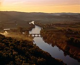 River Dordogne, dawn, mist rising.Aquitaine, Dordogne, Europe, France, River Dordogne from Domme