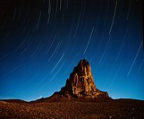 Star trails over Monument Valley Butte.USA,Utah,Monument Valley Tribal Park