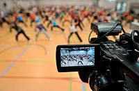 XCO training, video camera, display, aerobics convention, SpOrt, House of Sport, Stuttgart, Baden_Wuerttemberg, Germany, Europe