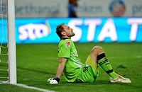 Goalkeeper Tom Starke, TSG 1899 Hoffenheim, on the ground, disappointed, WIRSOL Rhein-Neckar-Arena, Sinsheim-Hoffenheim, Baden-Wuerttemberg, Germany, ...