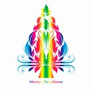 colorful abstract christmas tree isolated on white background