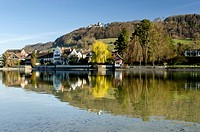 View as seen from Werd island across the Rhine river with the historic district of Stein am Rhein and Hohenklingen Castle, Canton of Schaffhausen, Swi...