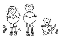 Fun boy, girl and dog cartoon outline holding blank heart shape signs.
