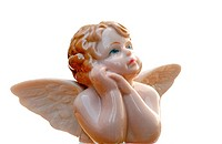 Antique porcelain angel on blue sky