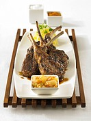 Grilled Lamp Chops.A platter of grilled lamp chops