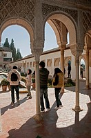 Courtyard of la Acequia, The Generalife gardens, Granada, Spain,