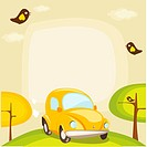 cartoon car background with place for your text, vector illustration