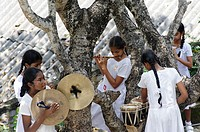 School girls playing music  Kandy city  Kandy district  Central Province  Sri-Lanka  Indian Ocean.
