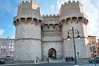 Torres de Serranos, part of the old city walls built in the 14th century  Valencia, Comunitat Valenciana, Spain, Europe.