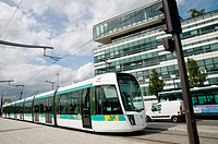 Paris, France, Tramway at Pont du Ganigliano Train Station, near France Television Corporate headquarters building