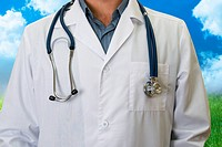 doctor man lab white coat close up