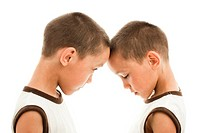 twins playing aggressive and confused persons against each other