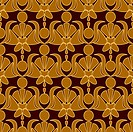 Seamless patterned wallpaper. A light ornament on a dark red background.