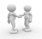 Two 3d people shaking hands _ 3d render illustration