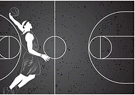 Vector basketball player on gray background