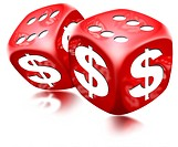 Pair of red dice with six and dollar sign on white background