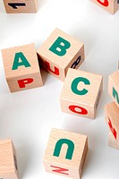 The alphabet. Letters drawn on wooden cubes. A children´s toy