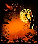Halloween illustration background with pumpkin, castle, moon and ornate