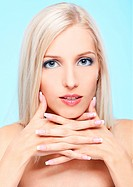 portrait of beautiful blonde girl with healthy skin