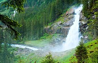 Alps beautiful mountain waterfall Krimml Austria, Tirol summer view
