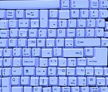many keyboard keys _ scan, blue toning