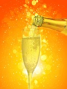 Champagne glass in abstract background