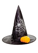 Black fabric witch hat with pumpkin for Halloween, isolated on white background