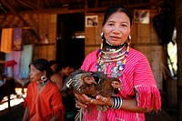 A Burmese woman displays her two hens Approximately 300 Burmese refugees in Thailand are members of the indigenous group known as the Longnecks The la...