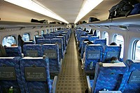 A view of the seating inside a bullet train Shinkansen