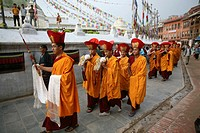 Tibetan monks in Kathmandu, Nepal The majority of monks in Nepal are refugees from Tibet and live in monasteries in Nepal At the temple Boudanath Stup...