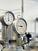 Gas, gasworks, tubes, industry, pressure, measuring instrument, manometer, pointer, Lugano, Ticino, Switzerland
