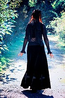 Woman, Gothic, walking in the forest