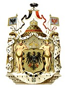 Historical graphic representation, coat of arms, symbol of the German Empire, great Imperial coat of arms of the German Emperor, 19th Century, from Me...