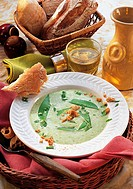 Snow pea soup, Italy, recipe available for a fee