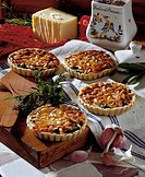 Herb and cheese tarts, France, recipe available for a fee