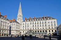 Place Royale square, Saint_Nicolas Church, Nantes, department of Loire_Atlantique, Pays de la Loire, France, Europe, PublicGround