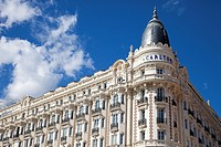 Front facade of the Carlton Hotel, Cannes, Cote d'Azur, France