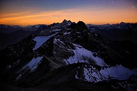 Mountain panorama in the blue hour, Mt. Feuerspitze, Steeg, Lech, Ausserfern, Tyrol, Austria, Europe