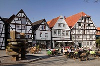 Half-timbered houses and outdoor cafés at Am Vreithof street, Soest, Sauerland region, North Rhine-Westphalia, Germany, Europe, PublicGround