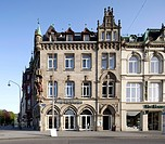 Historic commercial building on Simeonstrasse Street, Trier, Rhineland-Palatinate, Germany, Europe, PublicGround