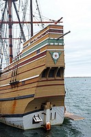 Detail of the Mayflower II, replica of the ship the Pilgrims sailed to America  Plymouth, Massachusetts, United States