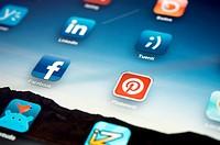 Social Network Icons on Ipad Display