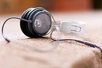 Headphones lying on a wall