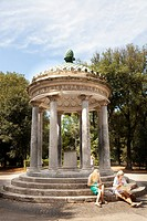 Tourists at the Tempietto di Diana in Villa Borghese Gardens in Rome