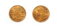 Golden Swiss 20 Franc Coin Helvetia