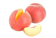 peaches with slice, isolated on white