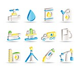 oil and petrol industry objects icons _ vector icon set