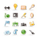 Simple Sports gear and tools icons _ vector icon set