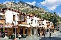 Cafes on main square in Kas, Antalya Province, Turkey