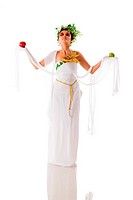 Beautiful fullbody Greek goddess holding apples _ isolated over a white background